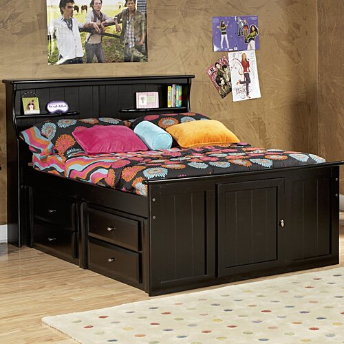 Full Mate's Bed with Bookcase Headboard and Storage