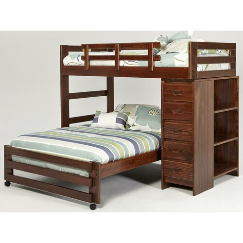 Twin over Full L Shaped Bunk Bed with 5 Drawer Chest and