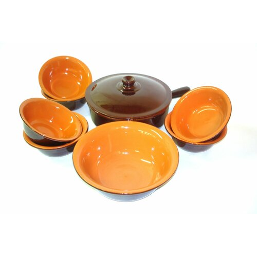 Italian Terracotta Multi-Use Pan with Lid and 6-Piece Bowl Set