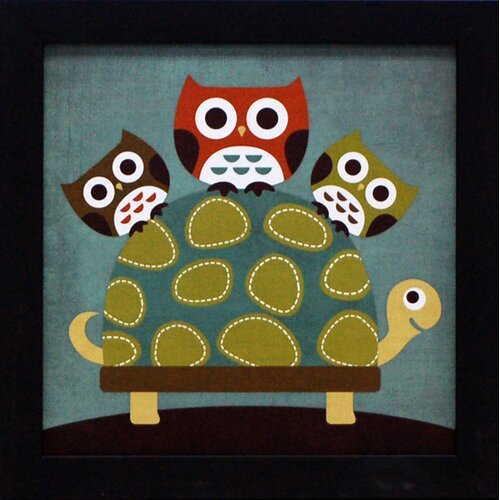 Three Owls on Turtle Framed Graphic Art