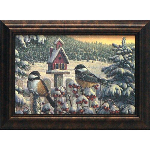 Winter Chickadees Framed Painting Print