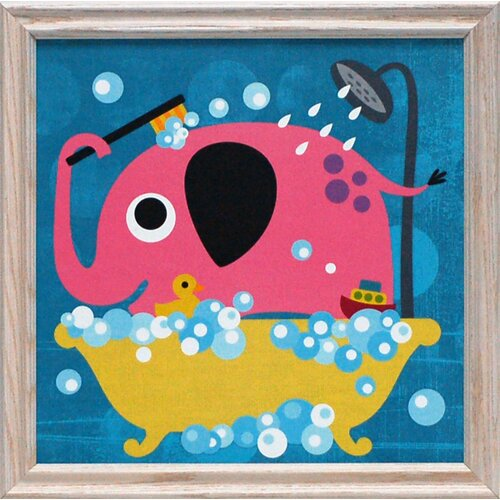Artistic Reflections Elephant in Bathtub Framed Graphic Art