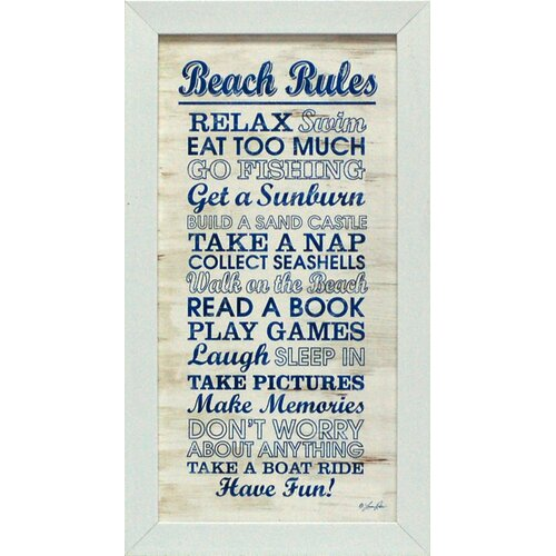 Artistic Reflections Beach Rules Framed Textual Art