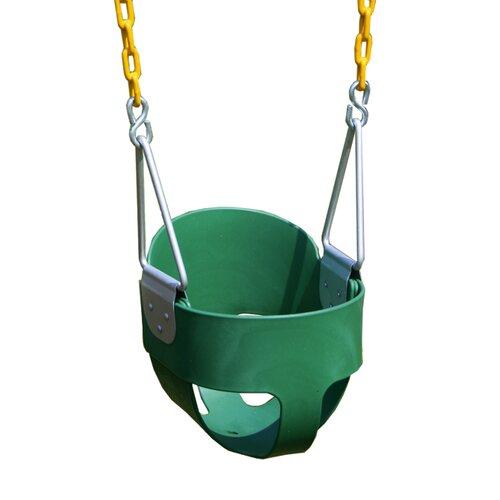 Heavy Duty High Back Full Bucket Swing with Coated Chain