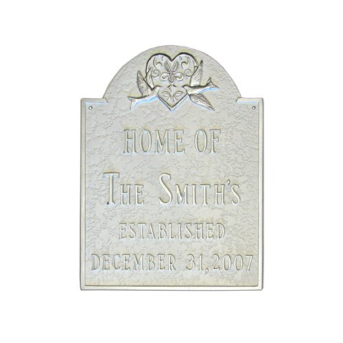 Dove and Heart Wedding Address Plaque
