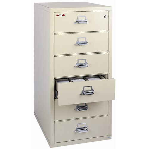 FireKing Fireproof 6-Drawer Card, Check and Note File