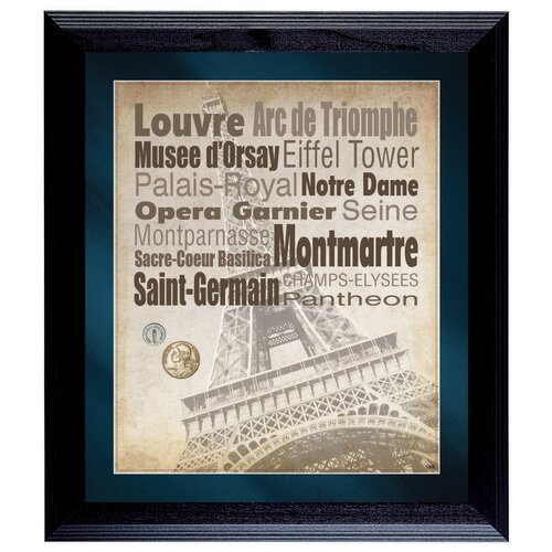 Paris The City of Lights Wall Framed Textual Art with Coins in Black