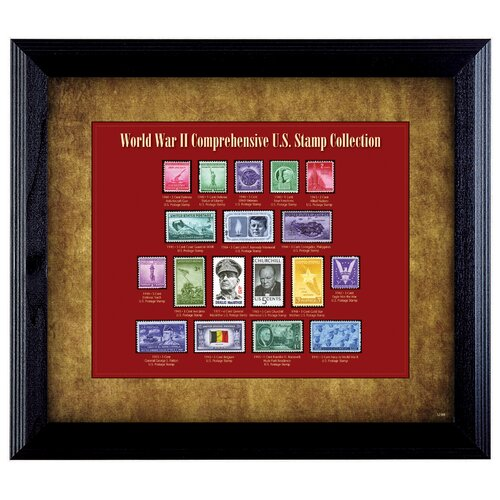 World War II Stamp Wall Framed Memorabilia in Black