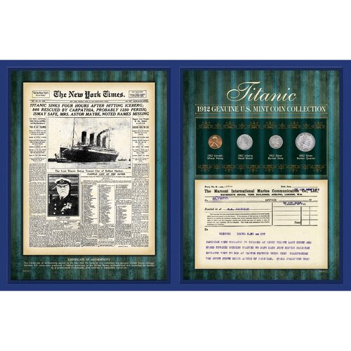 New York Times 1912 Coin Collection with Marconi Telegram Wall Framed Memorabilia