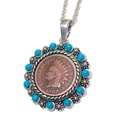 American Coin Treasures Indian Head Penny Real Beads Pendant