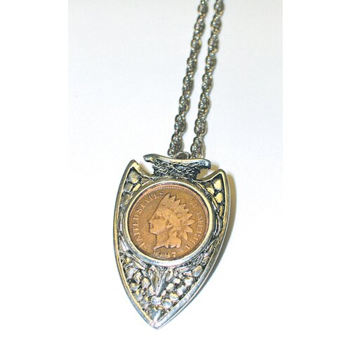 American Coin Treasures Indian Head Penny Silvertone Arrowhead Pendant