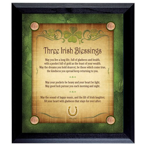 American Coin Treasures Three Irish Blessings with 4 Lucky Irish Pennies Wall Framed Textual Art