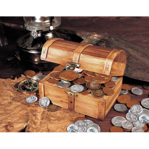 Historic Wooden 50 Old U.S. Mint Coins Treasure Chest