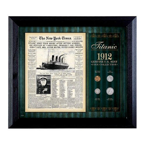 American Coin Treasures New York Times Titanic 1912 U.S. Mint Coin Wall Framed Memorabilia - 4 Coins