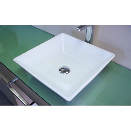 Square Single Hole Vessel Bathroom Sink