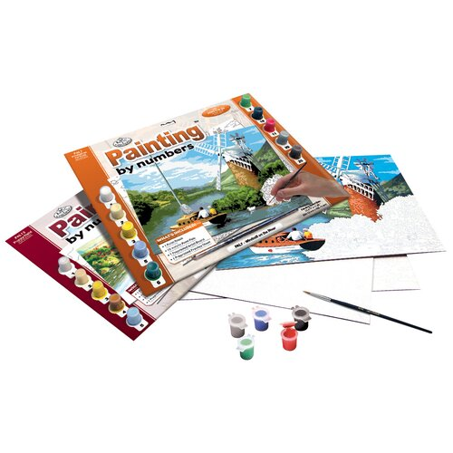 Royal & Langnickel Painting by Numbers Boating River Adult Set