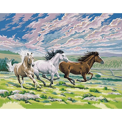 Reeves Paint By Numbers Large Galloping Horses Painting