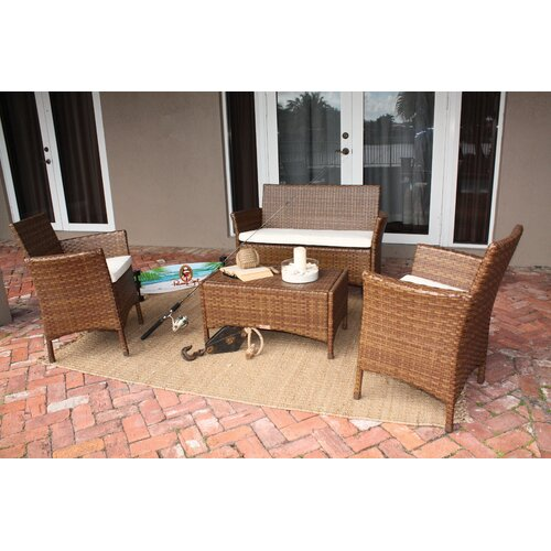 Panama Jack Outdoor St Barths 4 Piece Lounge Seating Group with Cushion
