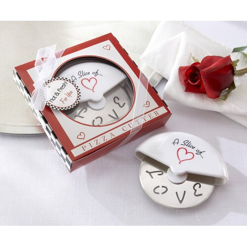 ''A Slice of Love'' Pizza Cutter in Miniature Pizza Box (Set of 96)