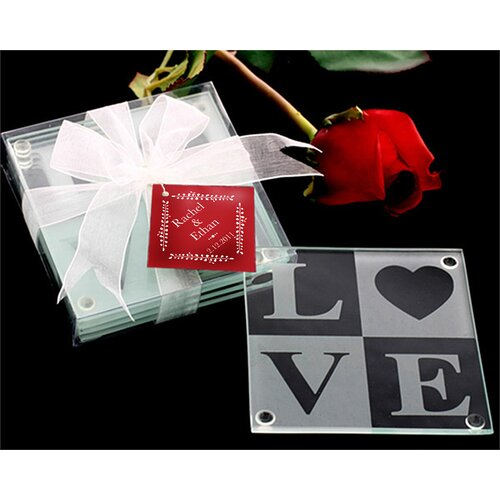 Kate Aspen Love Glass Coaster Gift Set with Ribbon and Thank You Tag