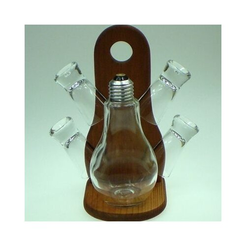 Womar Glass Carafe 5 Piece Light Bulb and Shot Glass Set