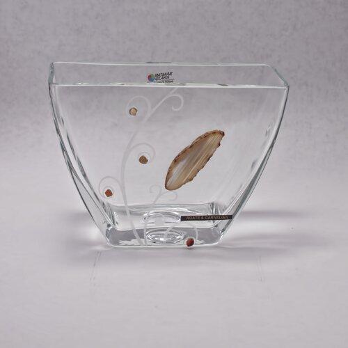 Womar Glass Precious Stone Agate and Carnelian Series Vase