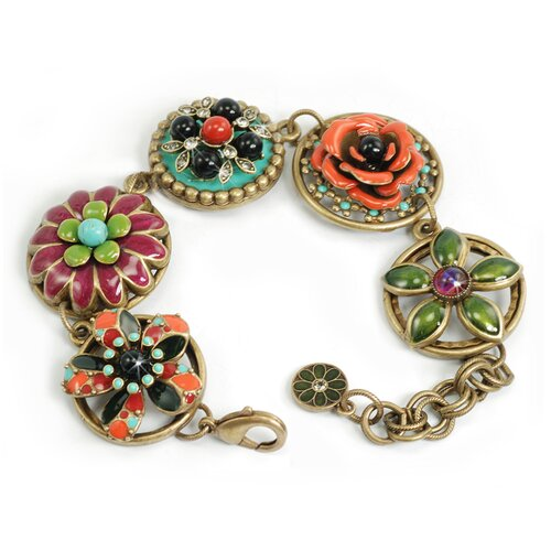 Sweet Romance Dawn and Sunset Enamel Flowers Link Bracelet