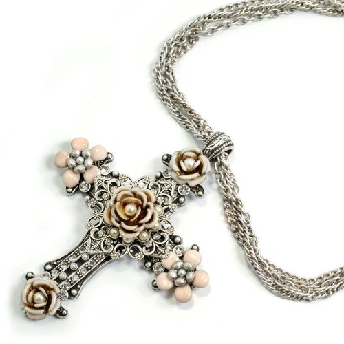 Metal Blush Flowers Cross Necklace