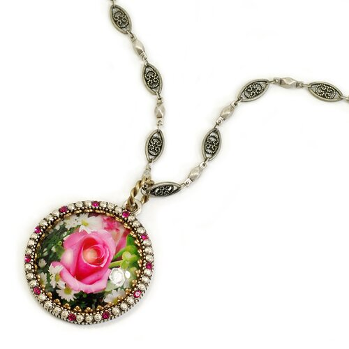 Sweet Romance Vintage Rose Glass Dome Necklace