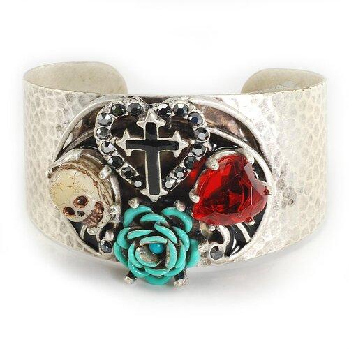 Skull, Heart, Rose and Cross Crystal Cuff Bracelet