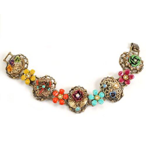 Mayan Garden Flower Crystal/Enamel Link Bracelet