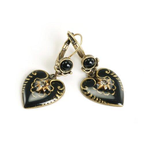 Enamel Heart Round Crystal Drop Earrings