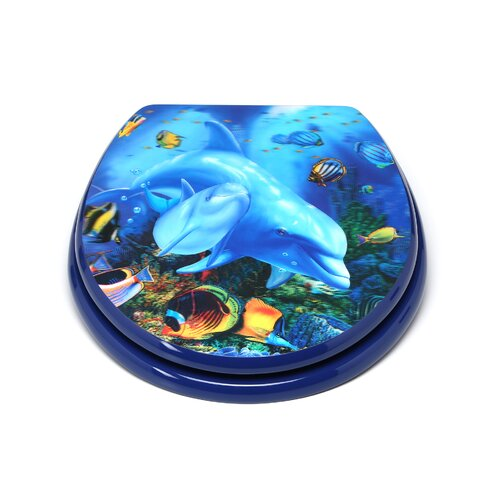 Fine Topseat 3D Ocean Series Dolphin Mother And Calf Round Toilet Ibusinesslaw Wood Chair Design Ideas Ibusinesslaworg