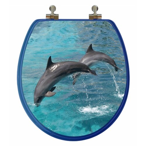 3D Ocean Series Two Dolphins Jumping Round Toilet Seat