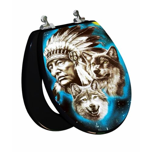 Topseat 3D Vario Scenario Series Indian / Wolf Round Toilet Seat