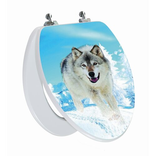 Topseat 3D Series Snow Wolf Elongated Toilet Seat