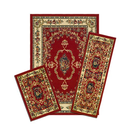 Capri Savonnerie Red 3 Piece Rug Set