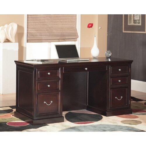kathy ireland Home by Martin Furniture Kathy Ireland Home by Martin Fulton Space Saver Double Pedestal Executive Desk