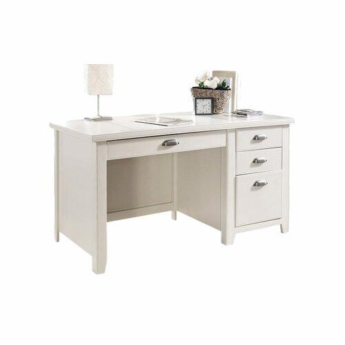 kathy ireland Home by Martin Furniture Tribeca Loft White Single Pedestal Computer Desk