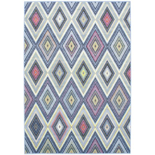 eCarpet Gallery Summer Chroma Diamond Blue Abstract Rug