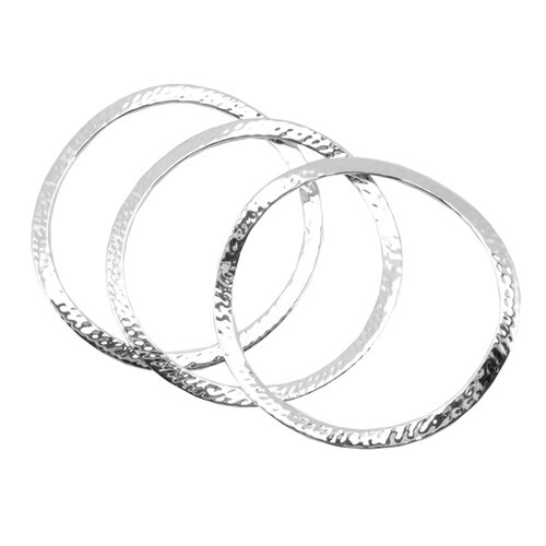 Basic Hammered 3 Piece Bangle Bracelet Set