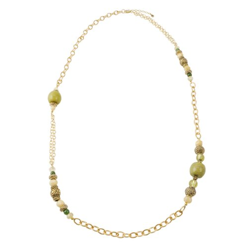Mayan Metal Citrine Olive Jade Chain Necklace