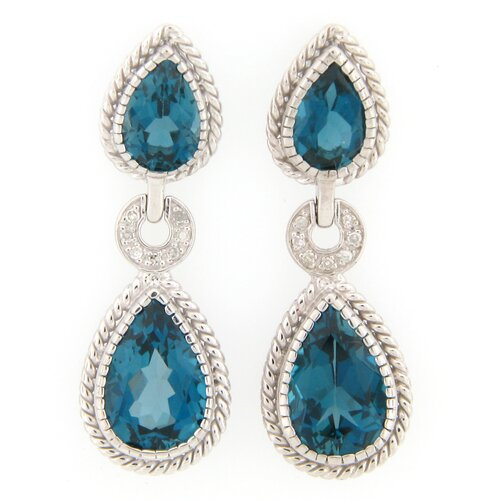 Meredith Leigh Designs London Topaz and Diamond Dangle Earrings