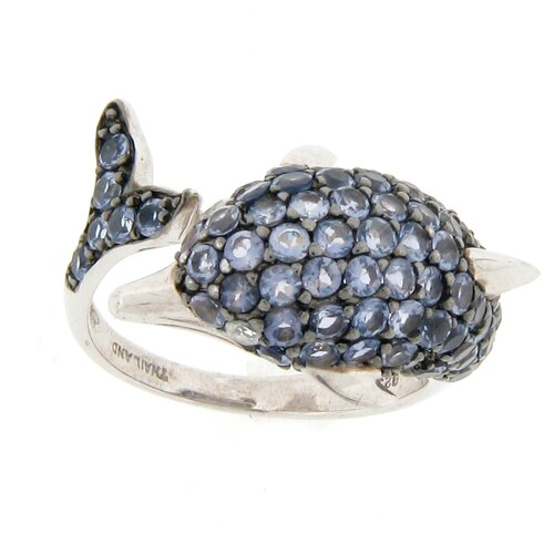 Meredith Leigh Designs Sterling Silver Round Zircon and Iolite Dolphin Wrap Ring