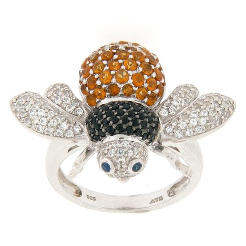 Meredith Leigh Designs Sterling Silver Round Multi Stone Bee Ring