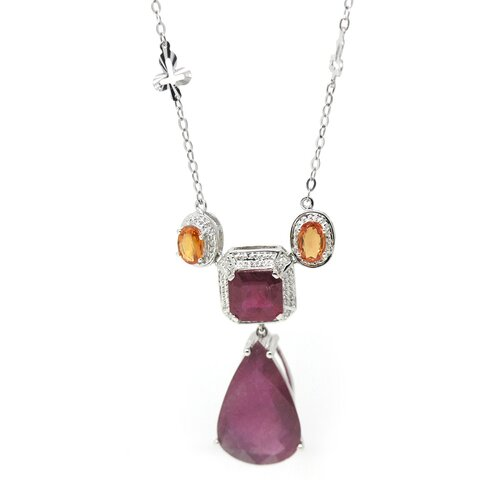 Genuine White Gold Ruby Pendant Necklace
