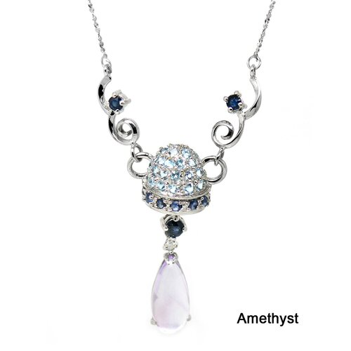 Genuine White Gold Amethyst Pendant Necklace