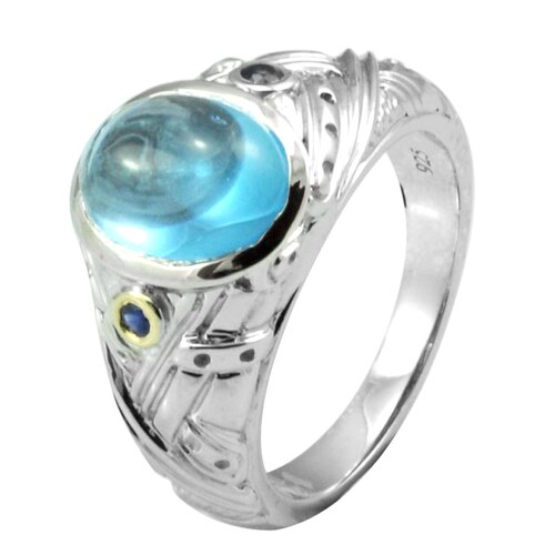 Genuine Yellow Gold and 925 Silver Oval Cut Blue Topaz Ring