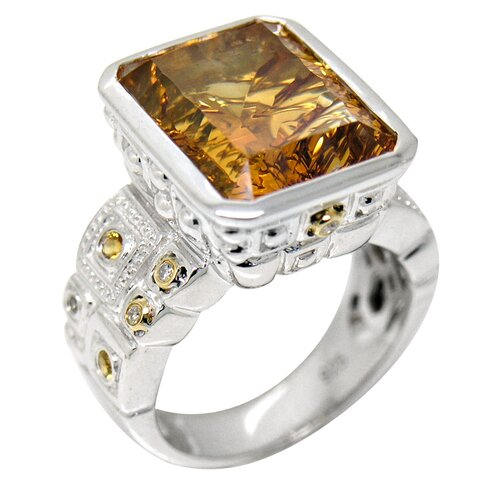 Genuine Yellow Gold and 925 Silver Citrine Ring