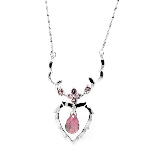 Genuine White Gold Heart Tourmaline Pendant Necklace